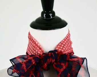 Vintage Mod Houndstooth Red White Blue Chiffon Square Scarf