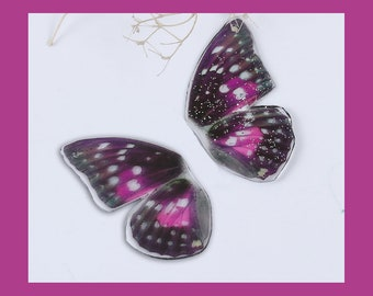 2 Purple Butterfly Wing Charms - C2688