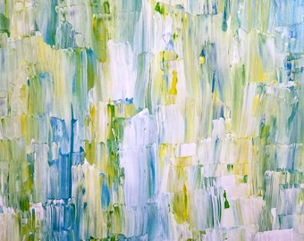 """Original Abstract Painting - Title""""  Morning Light on Cold Coffee"""" - 24"""" x 30"""" Acrylic and Enamel on Canvas"""