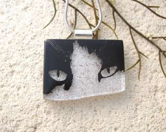 Cat Necklace, Dichroic Necklace, Dichroic Jewelry, Fused Glass Jewelry, Black Whiite Cat, Handmade, OOAK Necklace, Ccvalenzo, 012118p100