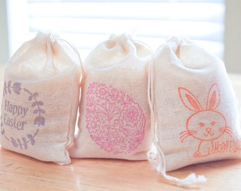 Easter Bags Holiday Set muslin cotton favor bag 15 2.75x4 with stamp goodies treat bag