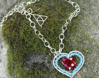 Classic Crystal Heart Container Necklace