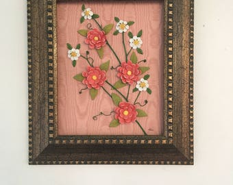Frame with flowers in orange and white ceramic recycled