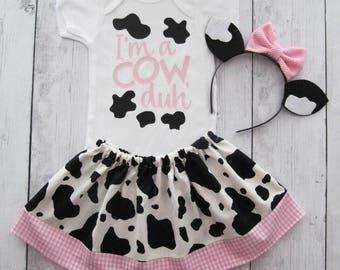 Cow Halloween Costume - baby/toddler halloween costume, first halloween, cow ears headband, cow halloween costume, halloween costume toddler