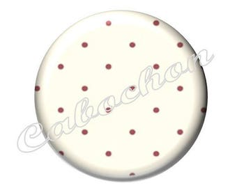 2 cabochons 18mm glass, fairy tale Red Riding Hood, polka dots