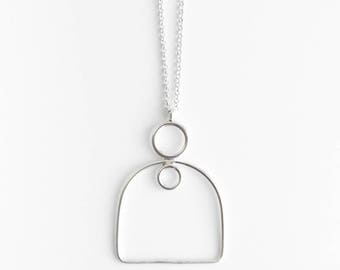 Nest necklace - curves sterling silver long pendant