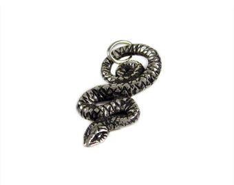 Serpent of Wisdom -- Handmade Pendant in Sterling Silver or Bronze