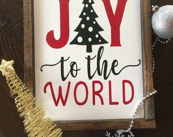 Joy to the World- Framed Sign- Christmas Sign