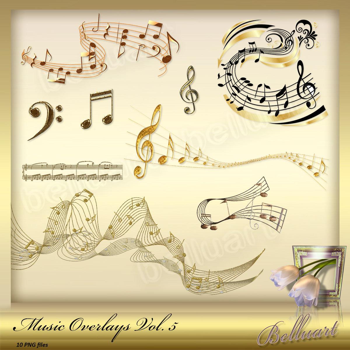 10 Music Overlays Vol. 5 Music Note clip art Music Note