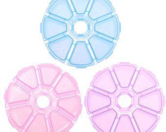 Small Round Plastic Storage Case in your choice of Blue, Pink, or Purple - Beading Organizer Compartments Jewelry Beads Gemstone Container -
