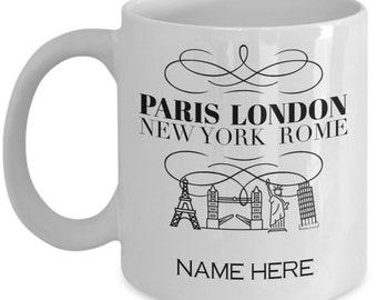 Paris, London, New York, Rome, Tourist Mug, vacation, travel,