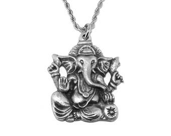 Pewter Ganesh Hindu Elephant God Pendant Necklace