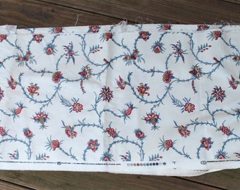 """Waverly Screen Print Fabric """"Mary Martha"""" - 100% Cotton - Teal Blue Dark Reds, and Taupe on a Creamy Ivory Background - Large Remnant"""