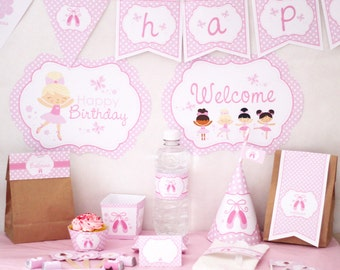Ballerina Birthday Party Decorations Printable Party - Instant Download - Ballet Birthday Party - Pink Girl Birthday Party - Dance Party