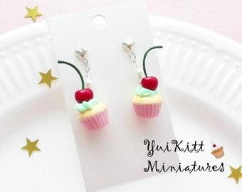 Cherry Cupcake Earrings/ Pink Mint-Green Earrings/ Food Jewelry/ Food Earrings