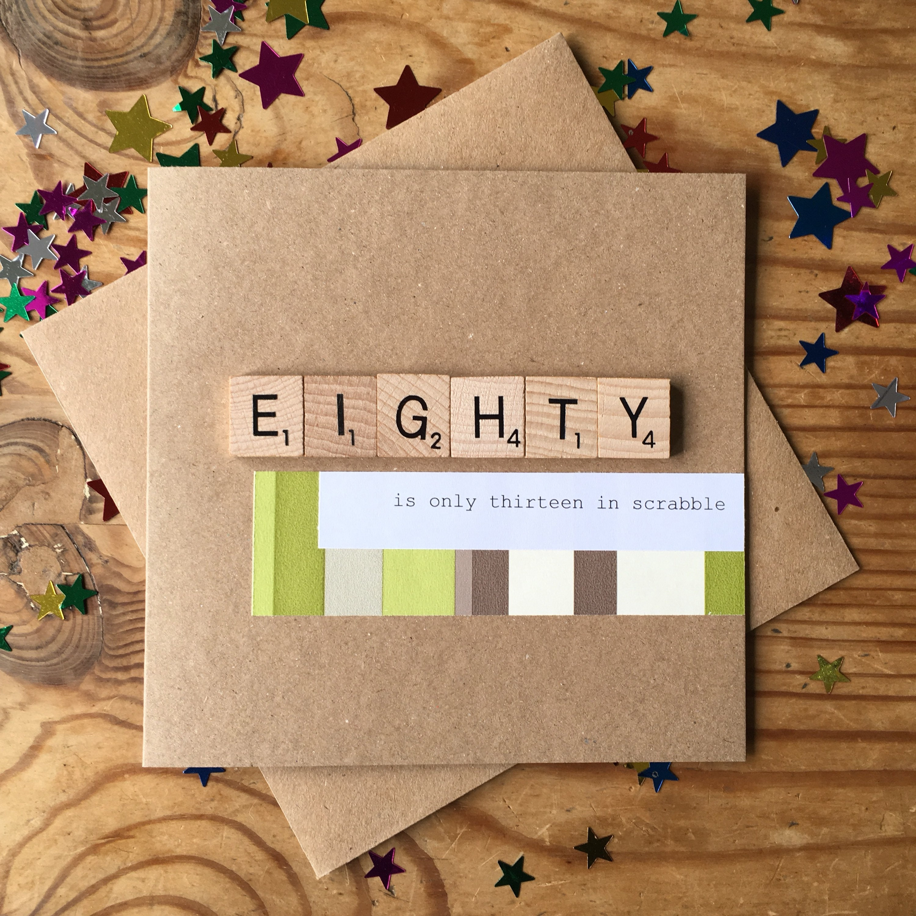 80th Birthday Card Scrabble Handmade Eighty Is Only