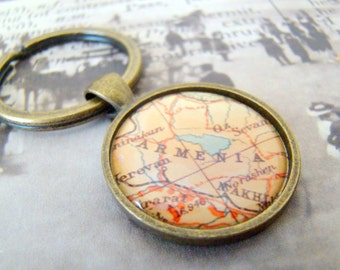 Armenia Keychain, 25mm Round Keyring, Antiqued Brass Key Chain, Made with Love, Comes in a Cool Gift Box