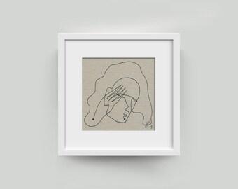 """Small-Portrait 10/10 cm unique, drawing plain, picture """"woman"""""""
