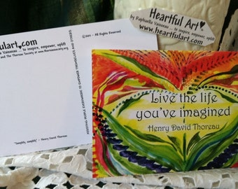 10 THOREAU Live Life POSTCARDS Inspirational Quote Motivational Positive Thinking Friend Graduation Gift Heartful Art by Raphaella Vaisseau