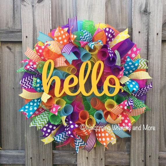 Spring wreath summer wreath hello wreath colorful wreath for Colorful summer wreaths