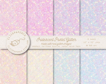 Glitter Digital Paper with Iridescent Color Effect in pastel pink purple mint blue For Scrapbook Invitations Cards Instant Download jpeg diy