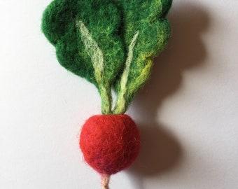 RADISH needle felted vegetable brooch pin badge
