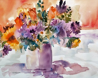 Watercolor Giclee Print Still Life Violet Shadows Flowers Wall Art