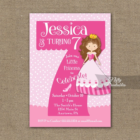 7th birthday invitations princess birthday invitation stopboris Gallery