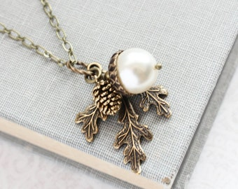 White Pearl Pendant Necklace Pearl Acorn Charm Nature Inspired Pinecone Branch Leaf Rustic Wedding Winter Wonderland Bridesmaids Gift