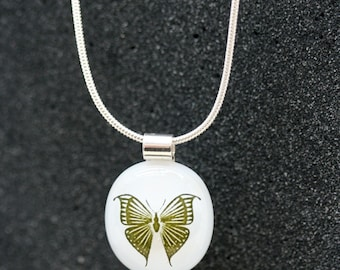 Sterling Silver and Fused Glass Pendant_ Butterfly