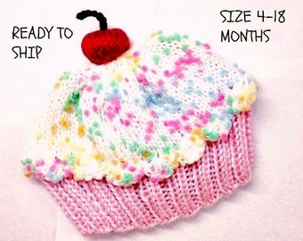 Cupcake Hat with Cherry on Top Cotton Candy Pink Cake Marshmallow Cream White Sprinkle Frosting - baby toddler 4 - 18 months READY TO SHIP