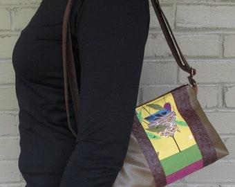 Small Vegan Shoulder Bag - Charley Harper Crossbody Bag - Olive Vegan Leather Bag