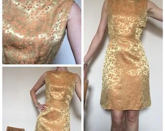 Vintage 60s gold orange brocade silk dress uk 10. Wedding guest dress.
