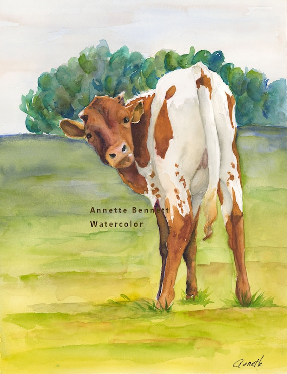 Longhorn calf art print of original cow painting texas