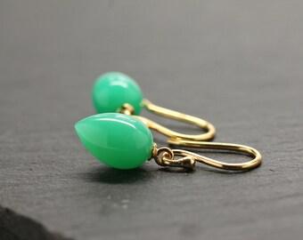 Jade Green Earrings Tear Drop Earrings Summer Earrings Light Green Gemstone Drops Fine Jewelry Dangle Earrings Bridal Gift For Her