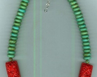 Adjustable Carved Red Cinnabar and Turquoise Necklace
