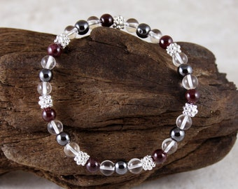 Aquarius Women's Astrology Bracelet, Silver Bali Beads
