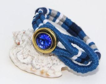 "Blue Crystal Boho Bracelet 6.75"""