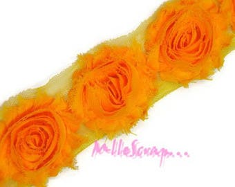 The 3 flowers scrapbooking embellishment yellow organza Ribbon *.