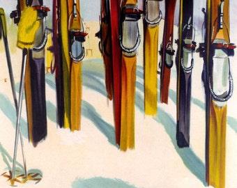 Ski Adirondacks Skiing Mountains New York American Winter Sport Vintage Poster Repro FREE SHIPPING in USA