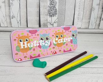 Personalised Owl Tin Pencil Case
