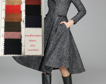 fit and flare coat, Swing Coat, double breasted coat, dress coat, wool coat, Grey coat, winter coat, Winter Jacket, Womens outfits (1373)