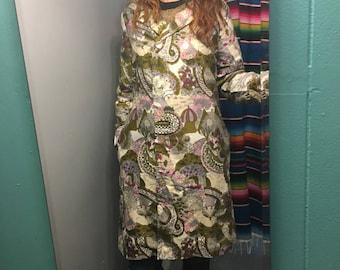vintage 60s 70s psychedelic floral landscape jacket lightweight spring coat Double breasted parka with pockets