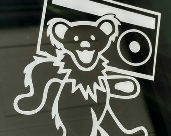 Grateful Dead decal Dancing Bear with Boombox jerry garcia die-cut sticker window car auto bumper guitar retro decal