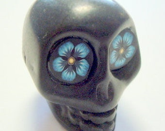 Sugar Skull Bead Extra Large Black with Blue Eyes Day of the Dead Bead