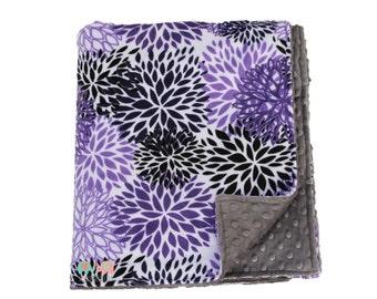 Purple Blossom Gray Minky Baby Blanket,Throw Blanket, Nursery Bedding, Baby Shower Gift, Birthday Gift, Super Soft Blanket, Gift for Her