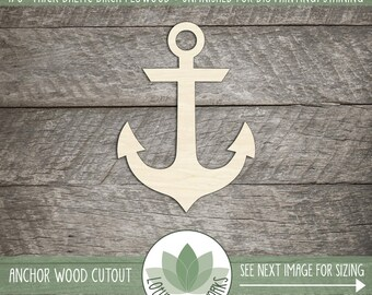 Wood Anchor Shape, Unfinished Wood Anchor Laser Cut Shape, DIY Craft Supply, Many Size Options, Blank Wood Shapes