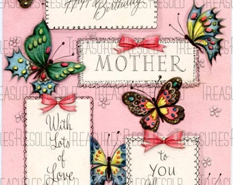Happy Birthday Mother Butterfly Card 256 Digital Download
