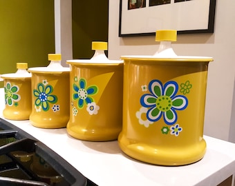 Vintage set of 60s Yellow Flower Power Groovy Metal Kitchen Canisters with Floral Motif