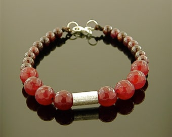 Garnet Beaded bracelet, AAA quality Garnet beads, Garnet silver bracelet, Genuine Agate bracelet, 10MM and 6MM beads